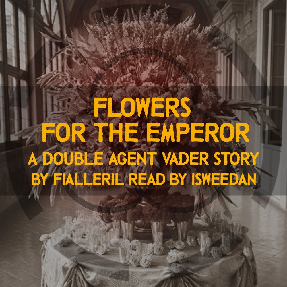 coverart! A lightly colorized, sepia-toned image of a fancy floral centerpiece on a table. There is a faint image of the Unfettered symbol over everything.  Title, Series, and Author information overlain.