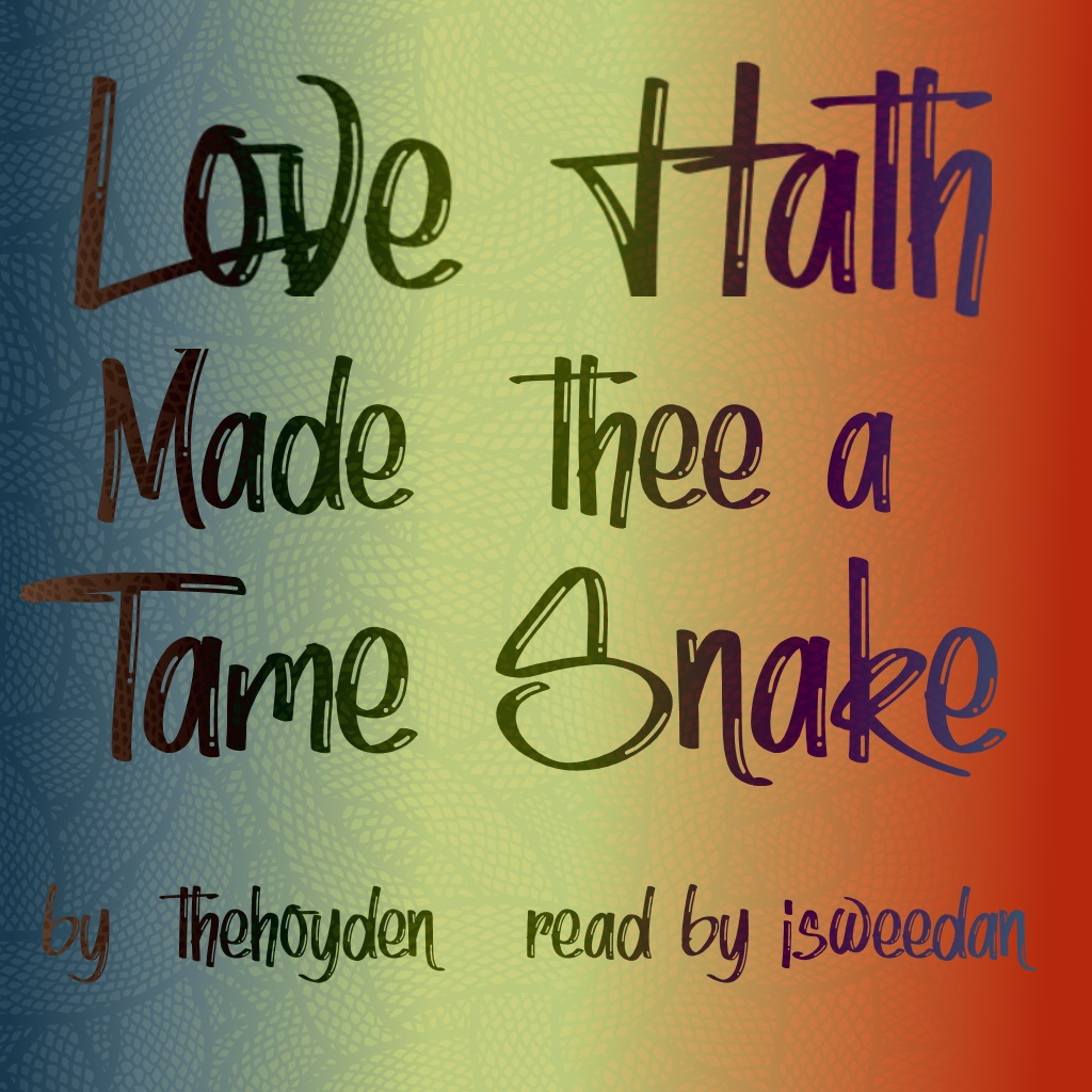 coverart! A gradient from blue to yellow to orange to red with a faint intertwined snake graphic fading in -  Title and Author information overlain.