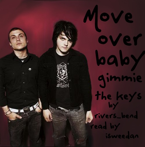 coverart! Van days era Frank and Gerard standing for a photoshoot looking moodily band-dude-ish on the left with title/author/reader captions on the right