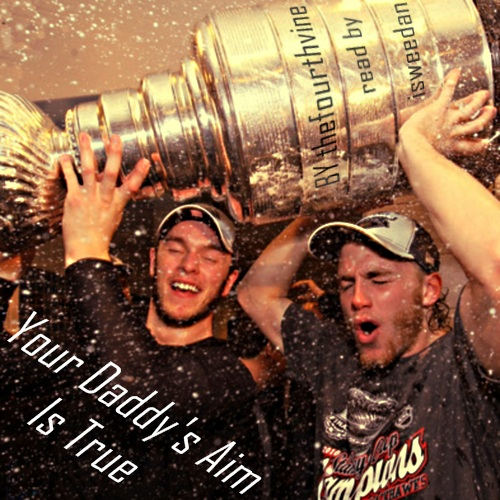 coverart! Kaner and Tazer holding the cup up together with redic happy faces while champagne sprays about. Diagonal title text in one corner, author/podficcer credit written on the Cup.